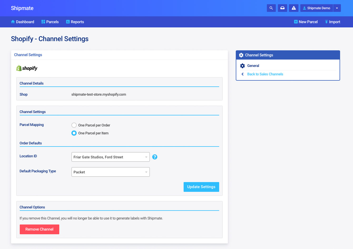 Shipmate - Shopify Channel Settings