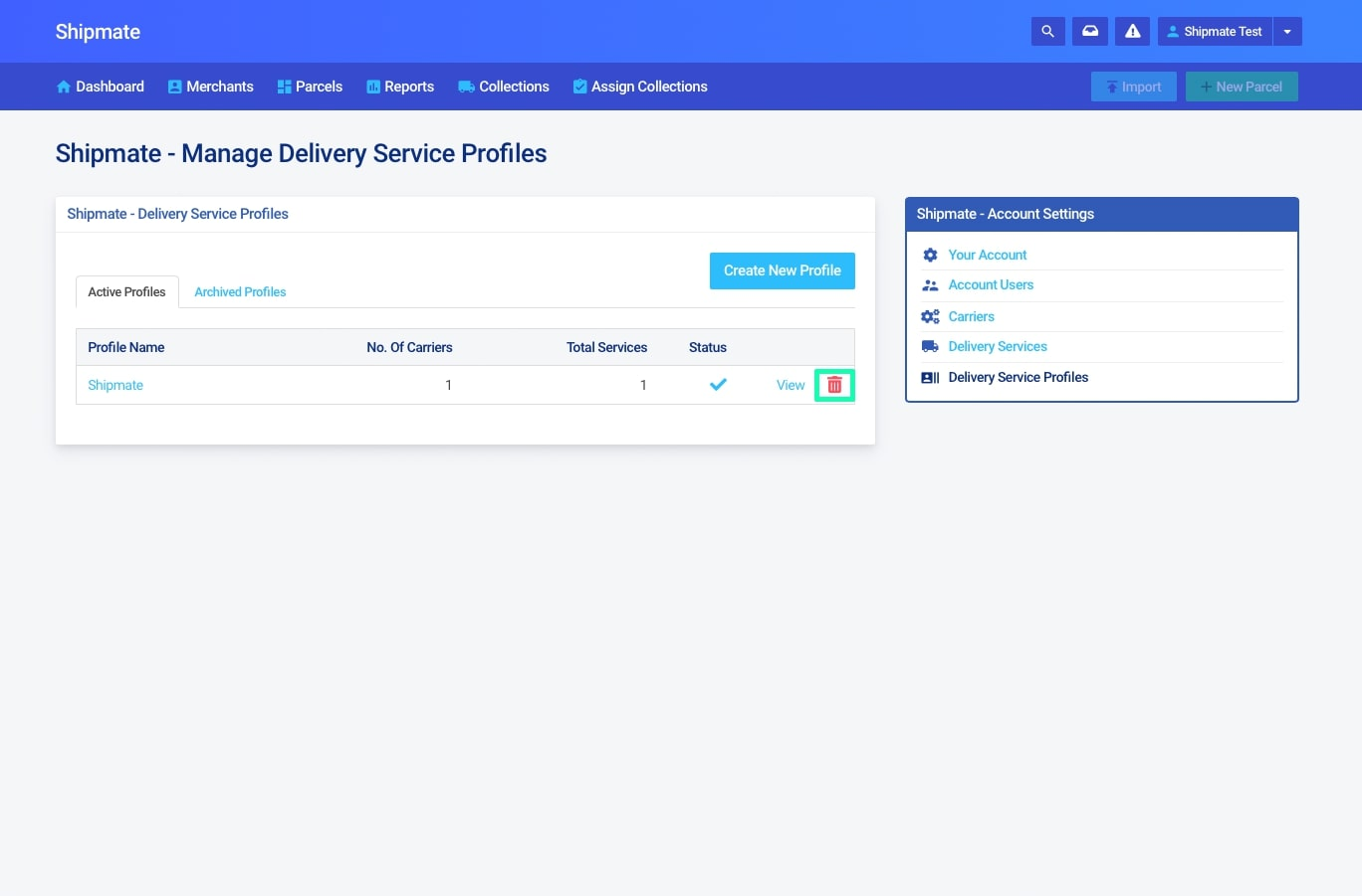Shipmate - 3PL - Archive a Delivery Service Profile