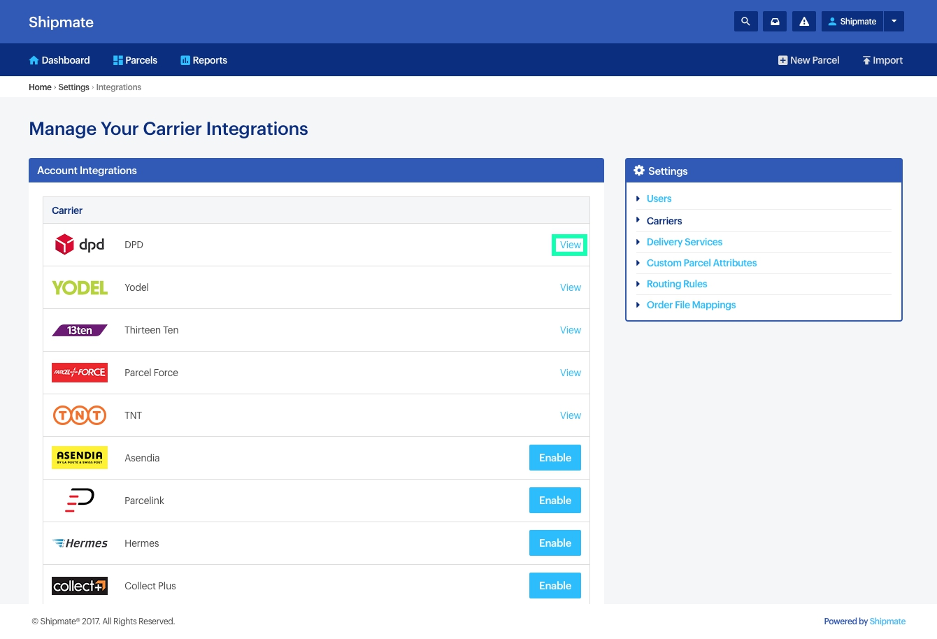 Shipmate - Your Account - Viewing Carrier Configurations