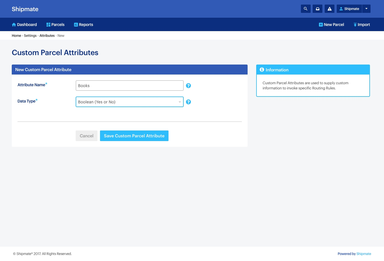 Shipmate - Your Account - Adding Custom Parcel Attributes